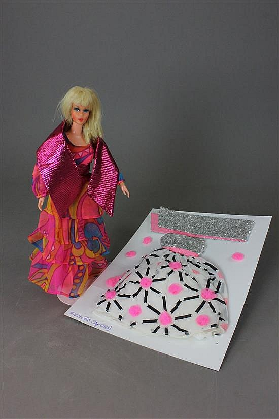 """TNT LIVING BARBIE WEARING #3437 """"DANCING LIGHTS"""" AND #1874 """"FAB CITY"""" (1969)"""