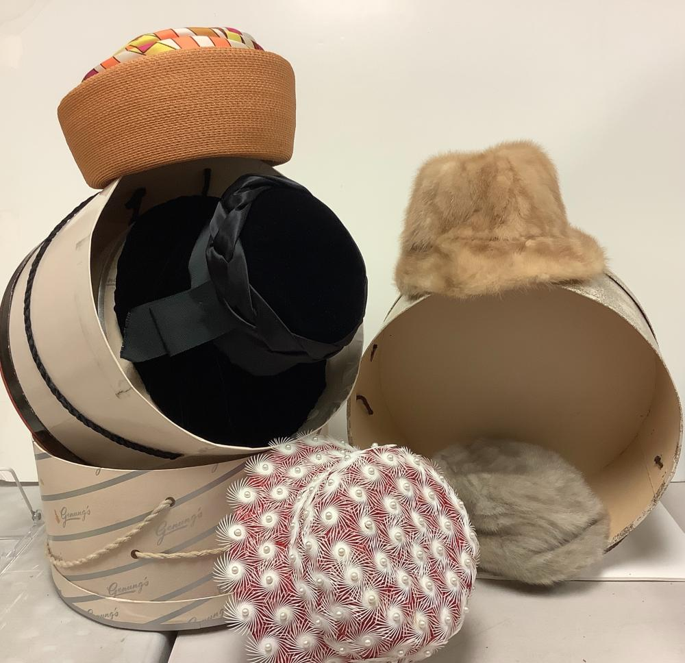 Five vintage hat with three hat boxes.