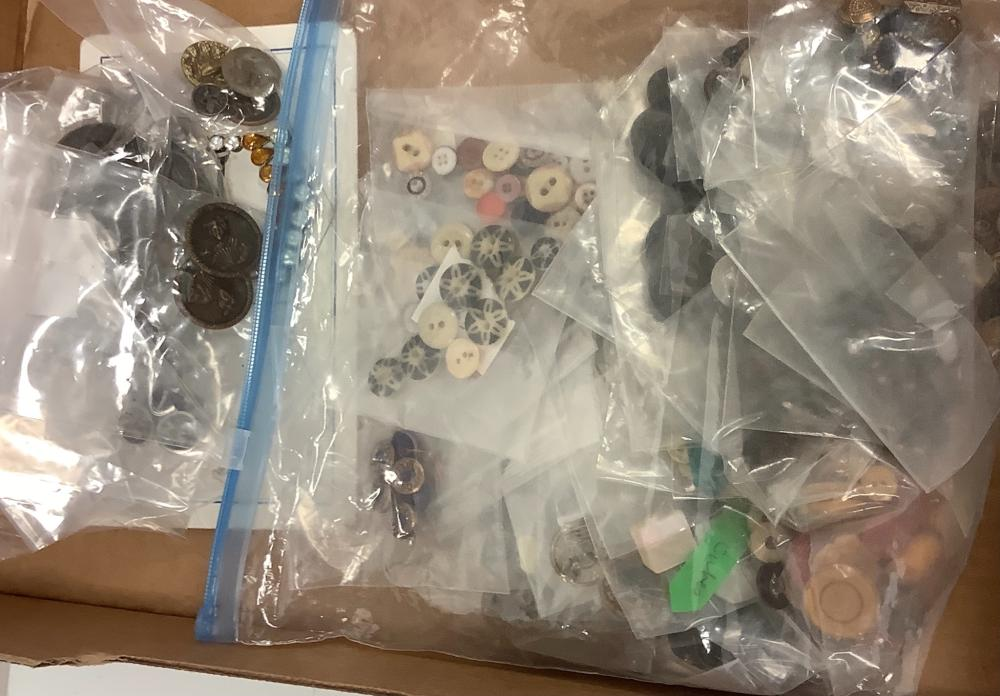 Lot of Picture buttons and a collection of antique buttons