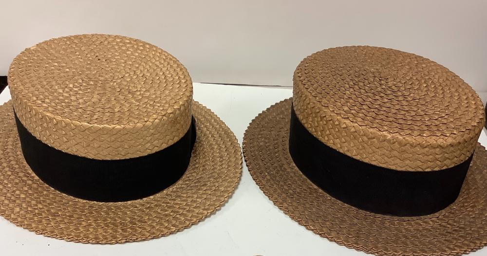 Lot of (2) Straw hats one Montgomery Wards Company and the other one The Zip Sizer.