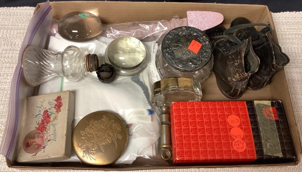 Lot of misc items including paperweights, shoe buttons & hankies