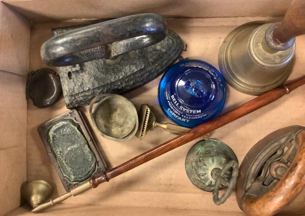 Lot including bells, sad iron, razor and misc items.