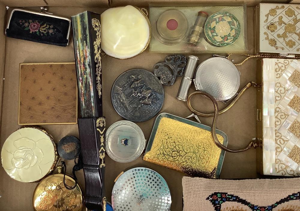 Lot of Assortment have compacts, Coin purses and a fan.