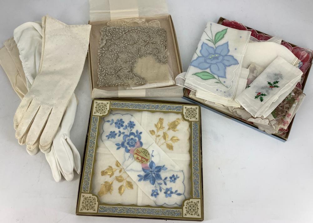 Lot of assortment of gloves and handkerchiefs.