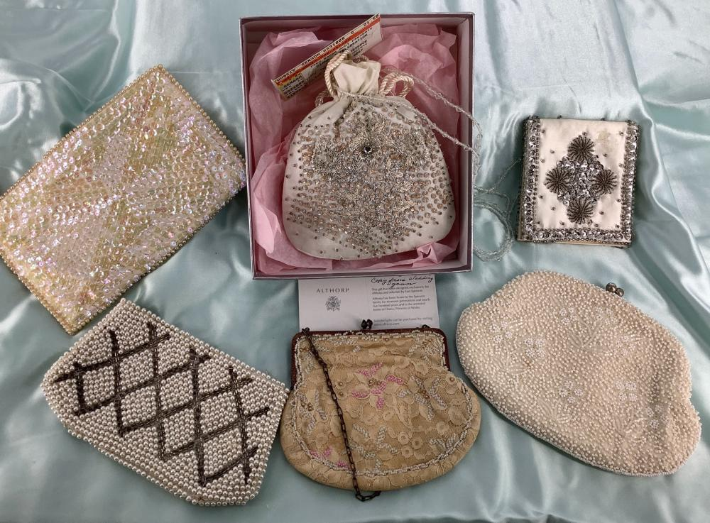 Lot of 6 ladies accessories including an unused purse from Althorp (Princess Diana's ancestral home), a beaded wallet (some stains), a small lace purse with pink beads (chain is discolored), an off white beaded bag wi...