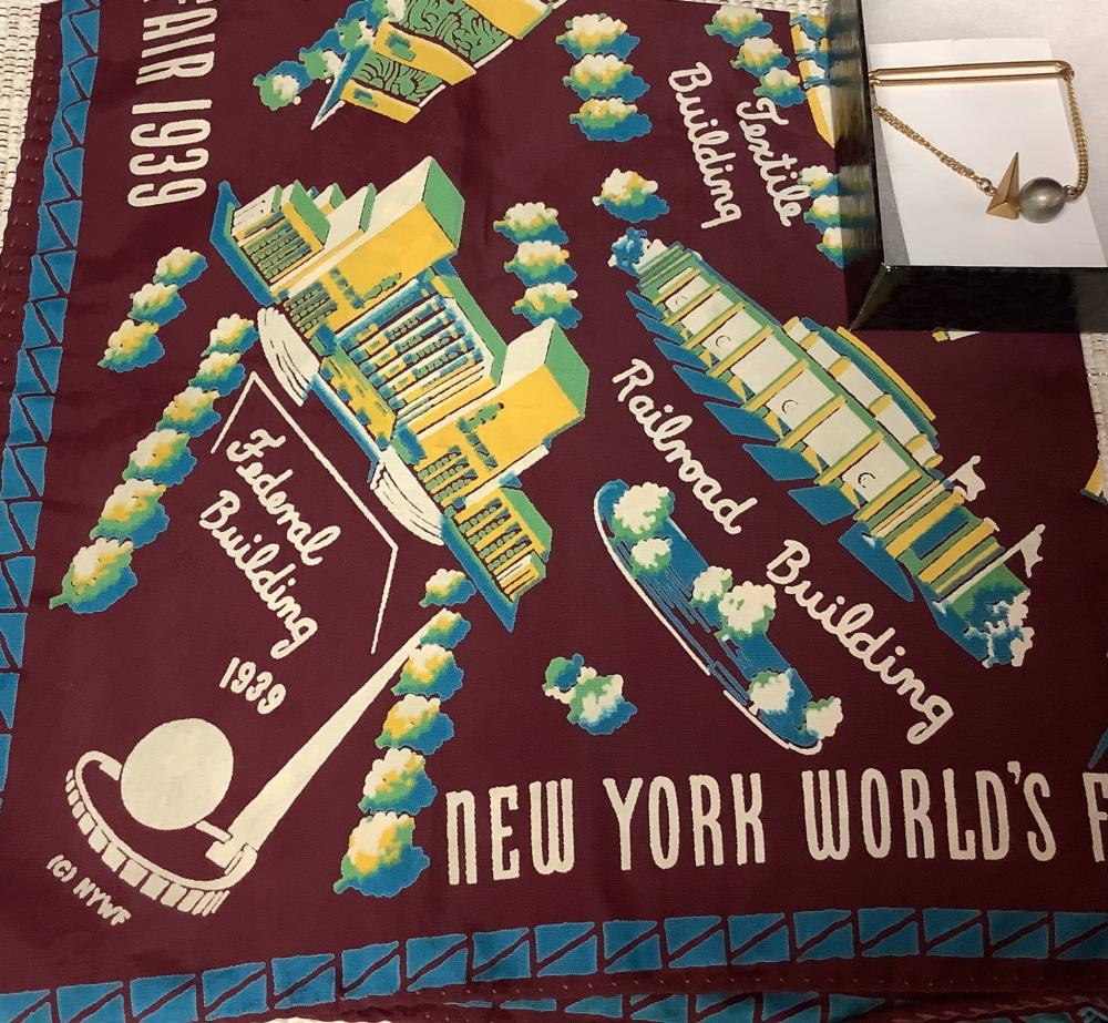 """New York scarf 19""""x20"""" and a Tie Bar from 1939 Worlds Fair."""