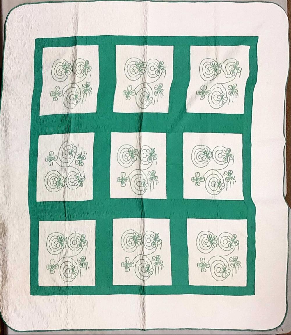 """Clover embroidered quilt. 73""""x75""""."""