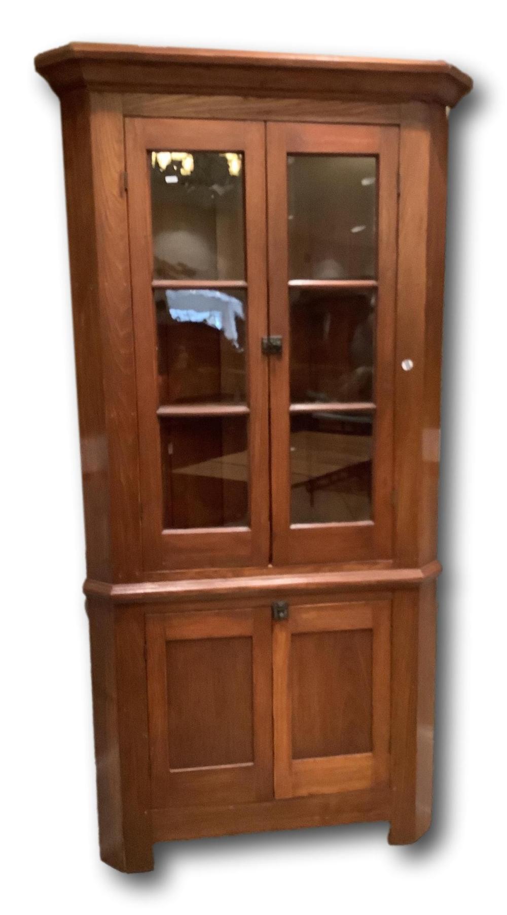 "Ash corner cupboard with 2 three pane glass doors, 82""H, 40""W"