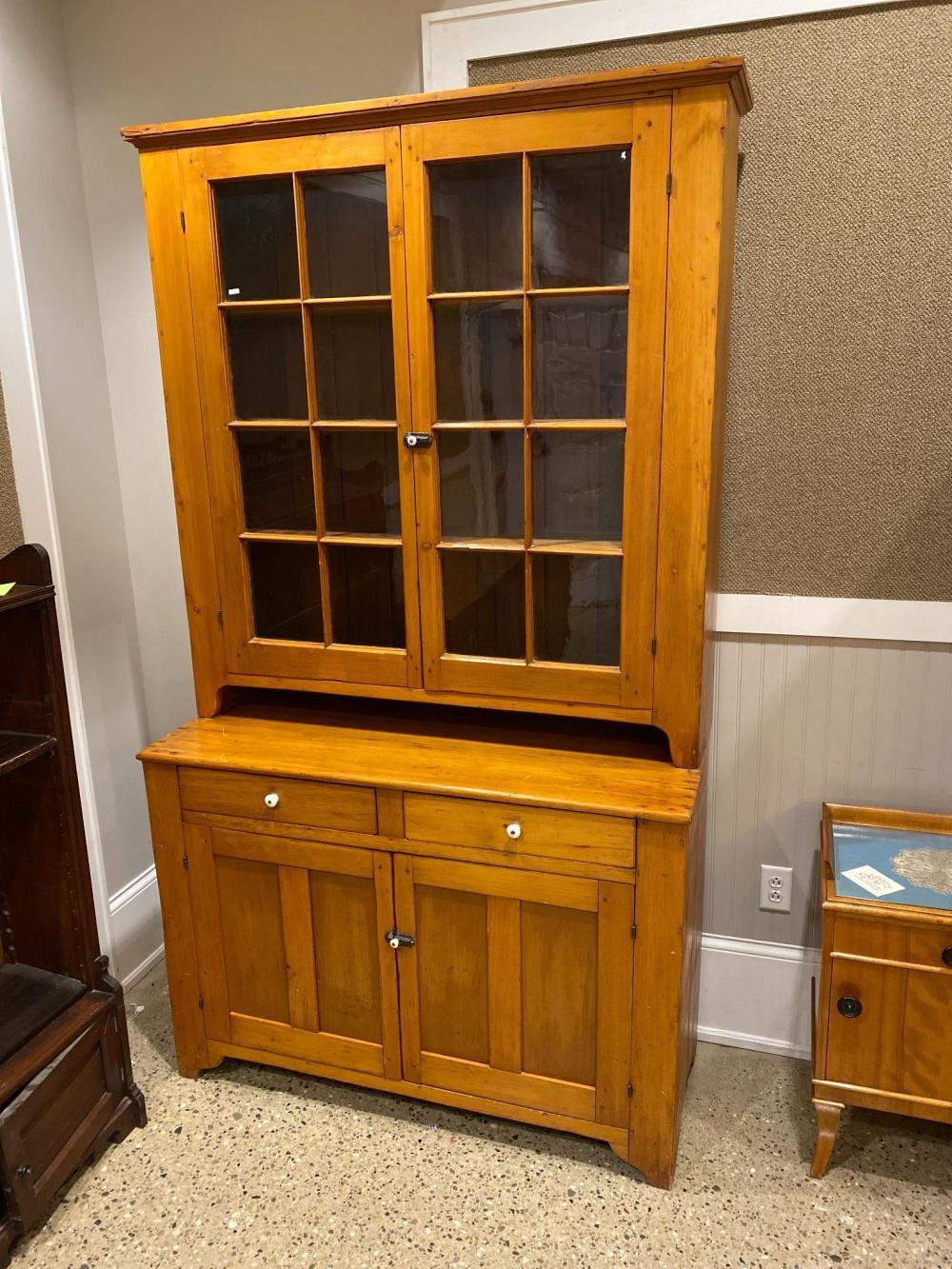 "Pine step back cupboard, 50"" x 19"" x 89"""