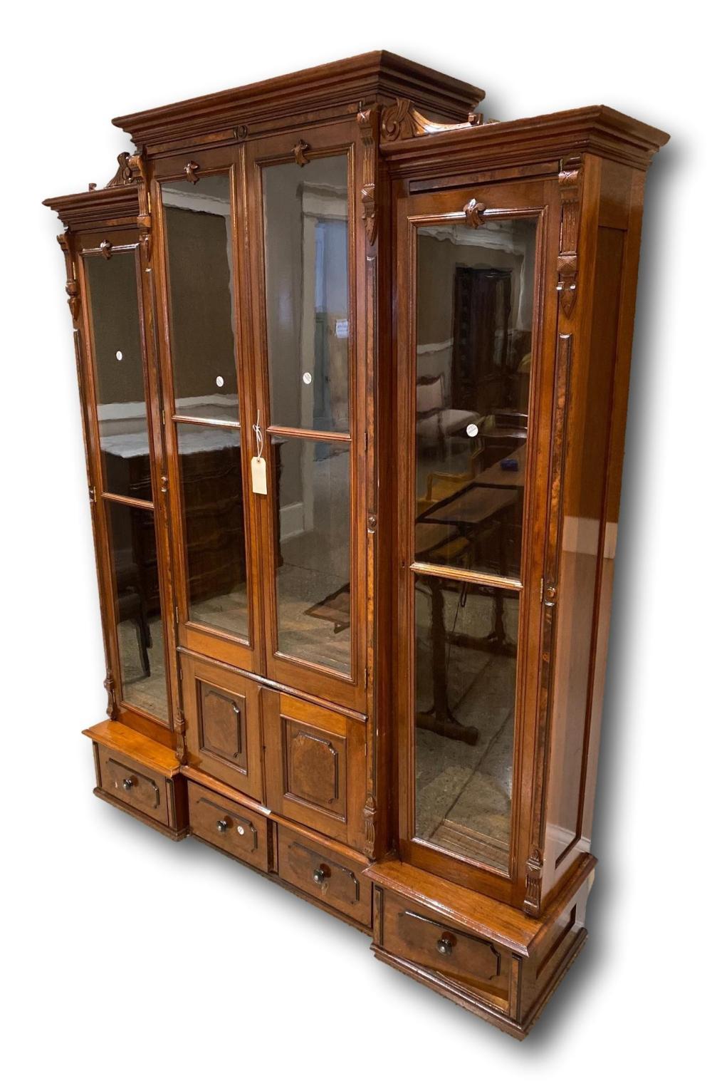 "Walnut Victorian 4 door bookcase, 70"" x 17"" x 86"""