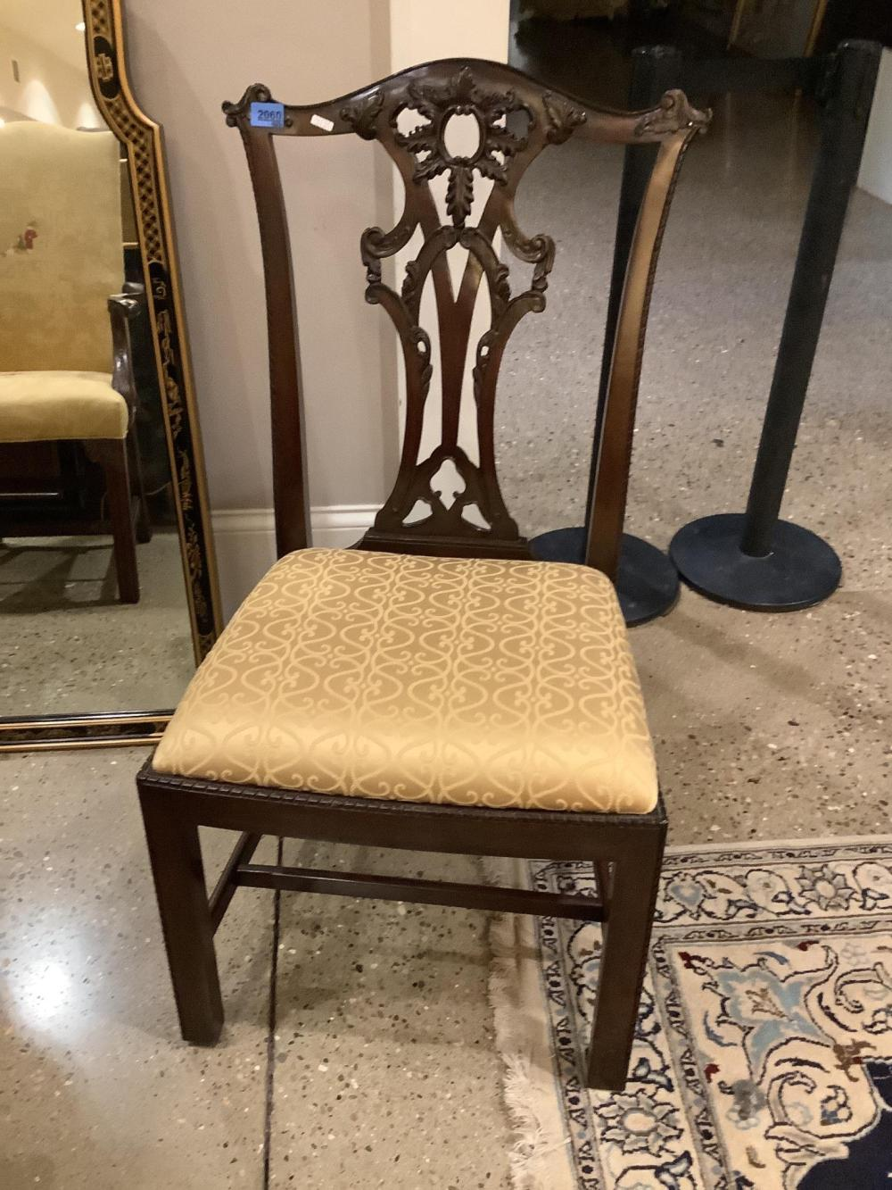 Set of 6 mahogany highly carved Chippendale style chairs