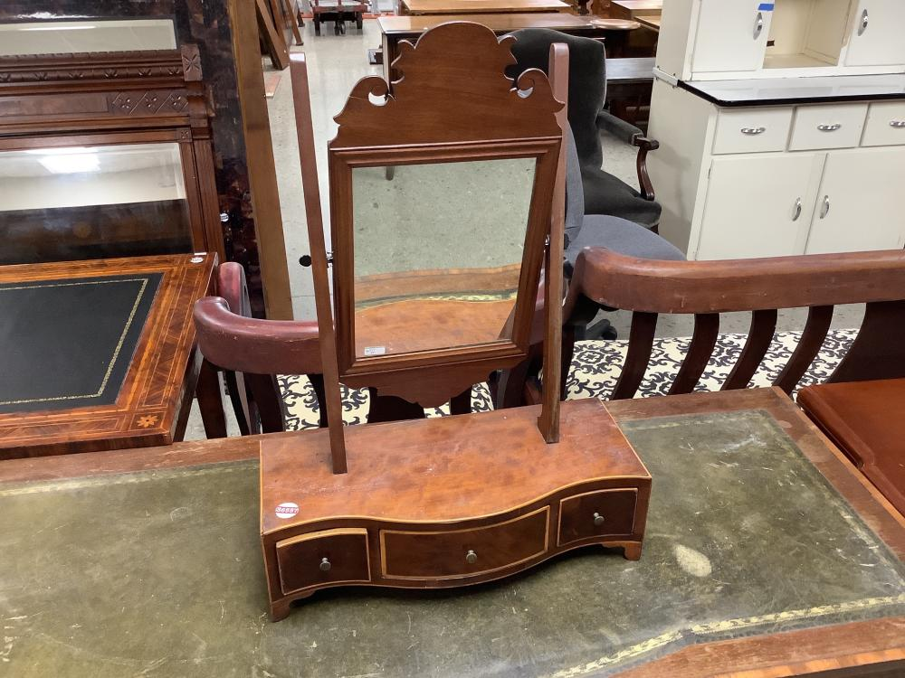 Chippendale style shaving mirror with string inlay