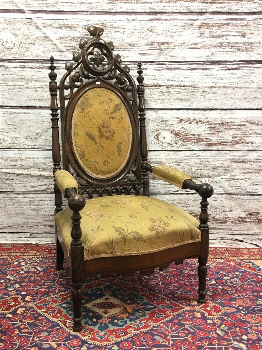 """Rosewood victorian gothic open arm chair with tapestry upholstery, 52"""""""