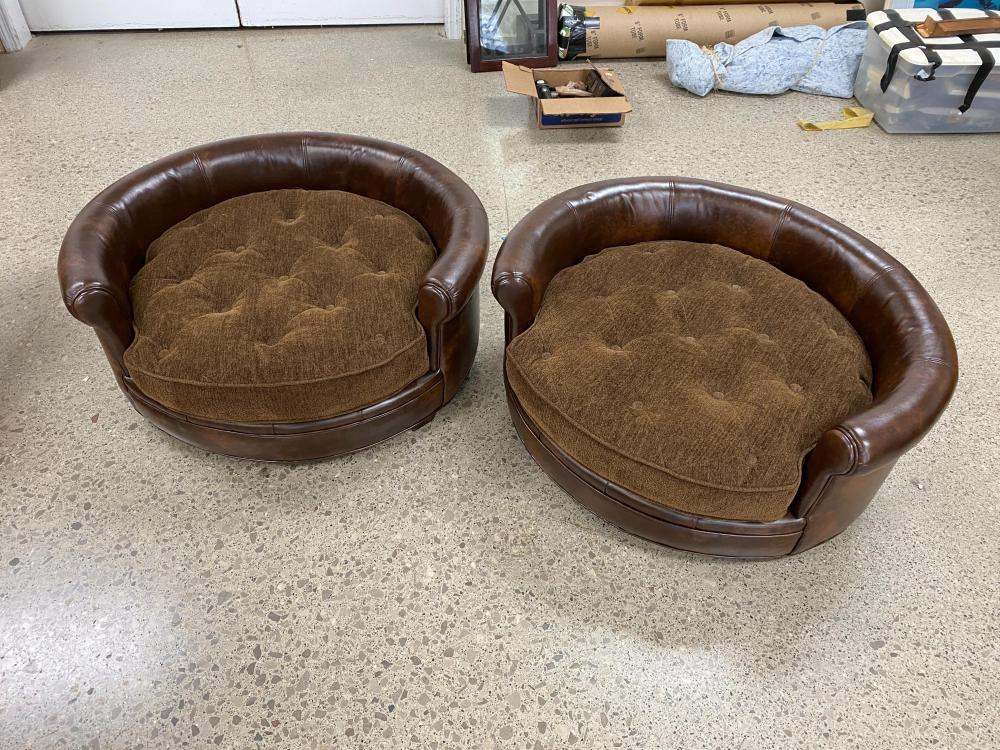 """Pr Uttermost """"Lucky"""" dog beds with tufted cushions"""