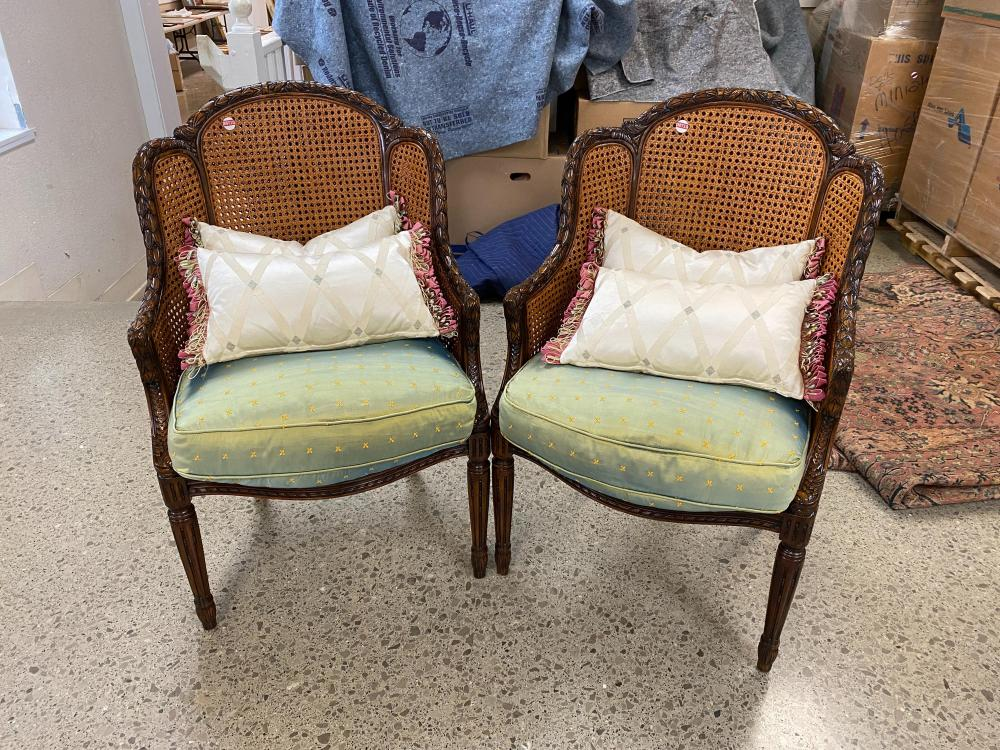 """Pr cane seat arm chairs with reeded legs and down filled cushions, 40"""" tall"""