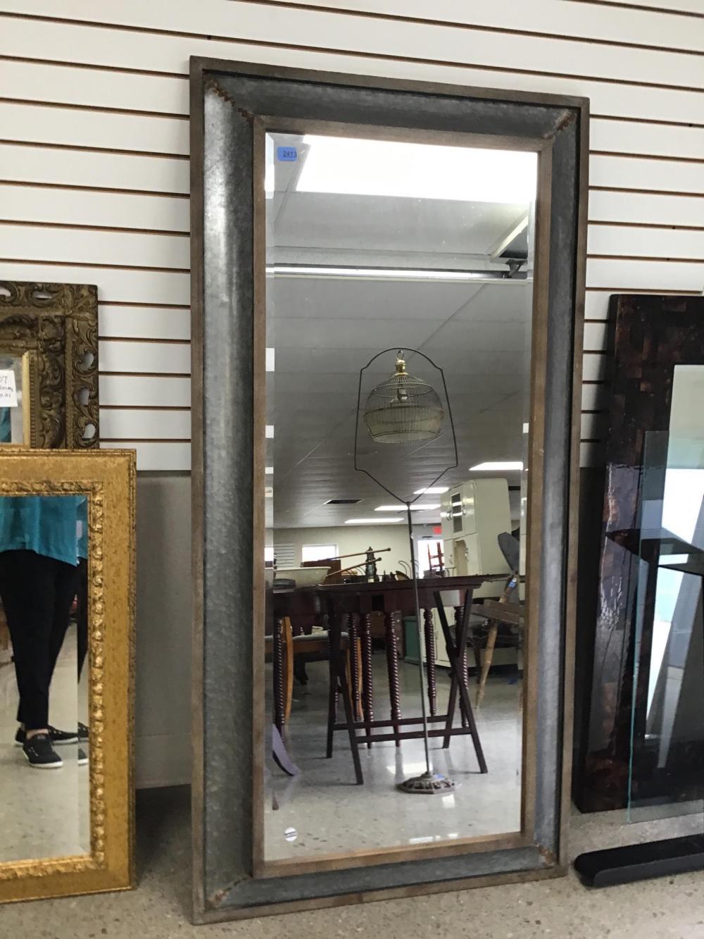 Beveled mirror rustic frame