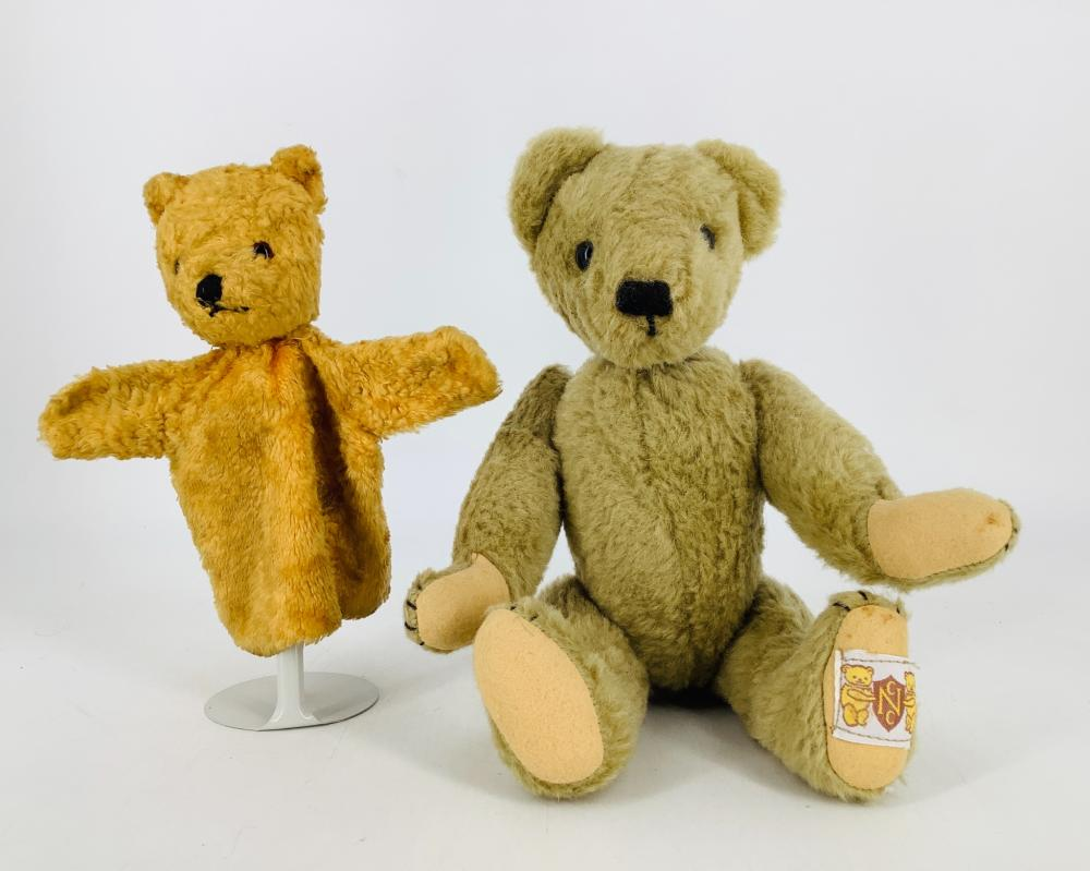 """Nisbet """"Yes-No"""" Teddy Bear and friend. 13"""" alpaca bear with applied ears, glass eyes, stitched nose, disk jointed neck, shoulders and hips, felt paw pads. Tail mechanism moves the head up and down and side-to-side. Ni..."""