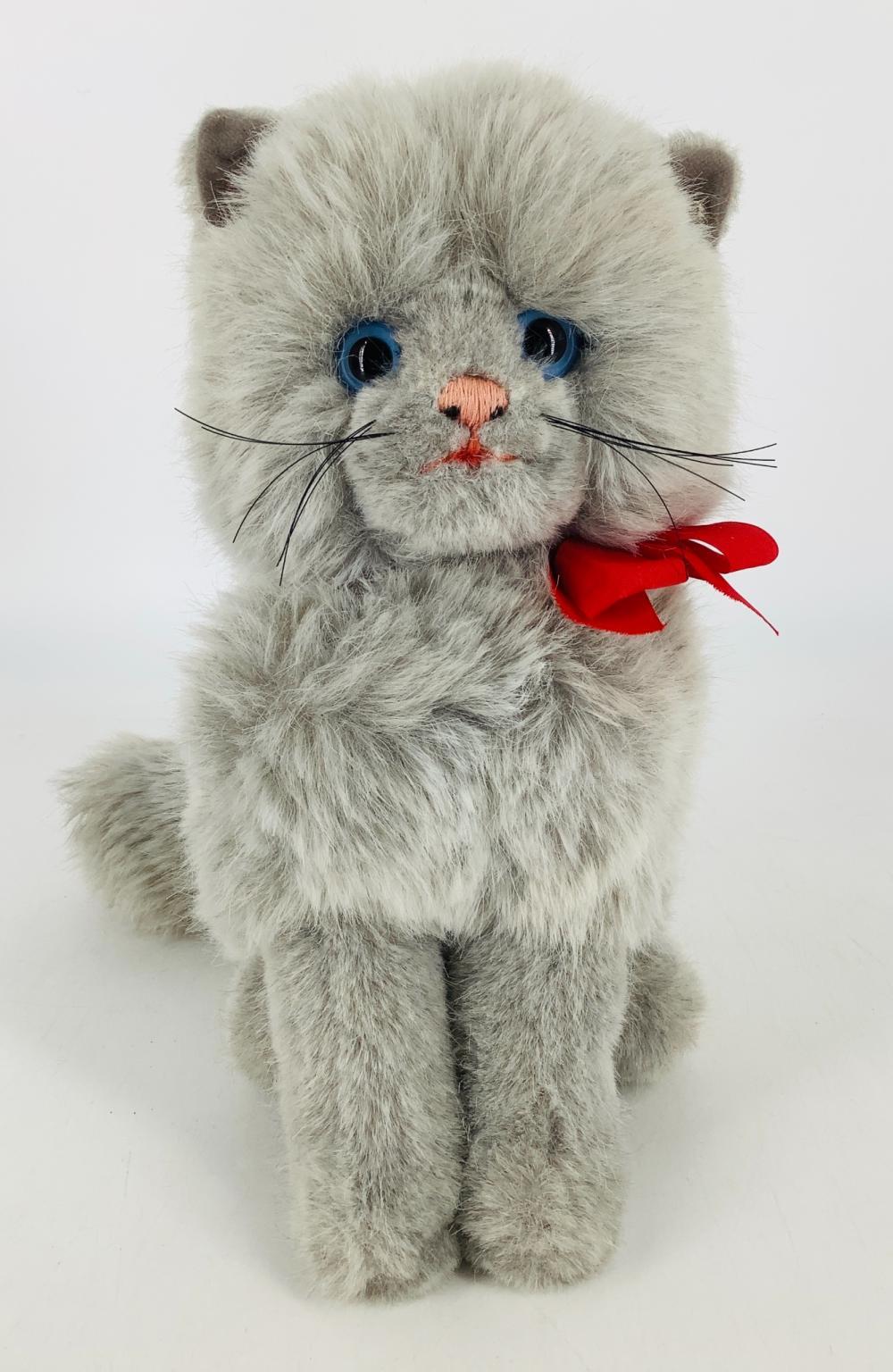 "10"" Steiff Cat ""Minka"" with red ribbon, no tag."