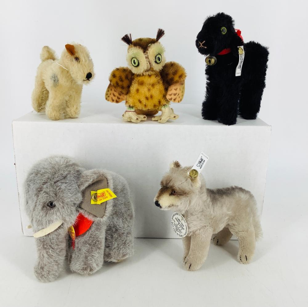 """Lot (5) Steiff animals including 5 1/2"""" Jumbo elephant with red collar, 5 1/2"""" Limited Edition Baa Baa Black Sheep, 5"""" Limited Edition Little Red Riding Hood wolf, 5"""" Owl Wittie with no tag or button and 4"""" Foxy Foxte..."""