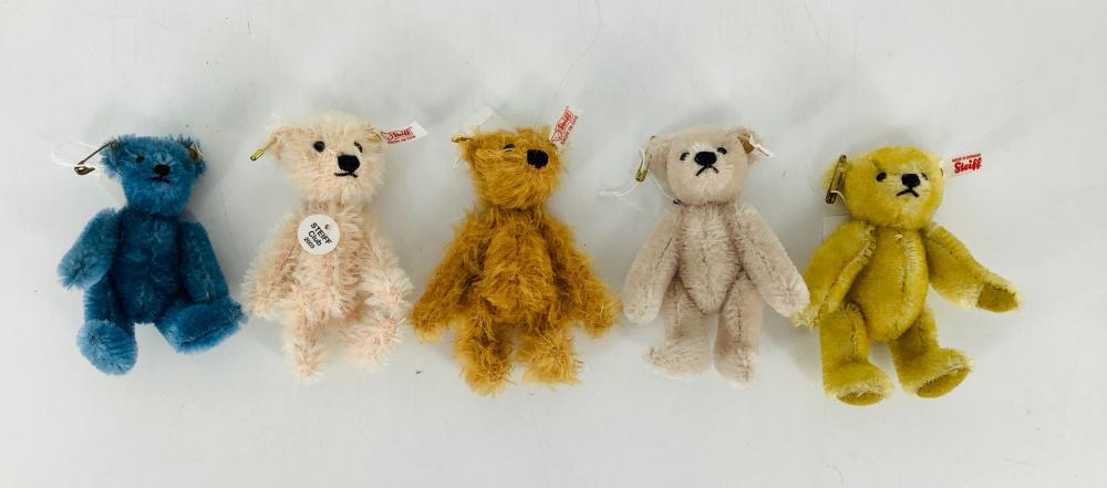 "Lot of (5) Limited Edition 4"" miniature Steiff Teddy Bears."