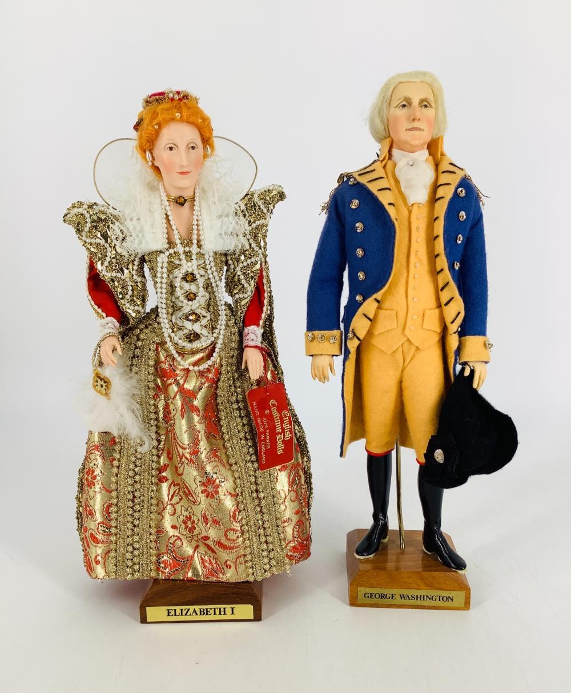 "(2) English Costume Dolls by Ann Parker. Includes George Washington and Queen Elizabeth I. Elizabeth is 12"" and Washington is 12 1/2"". Elizabeth retains her hang tag."