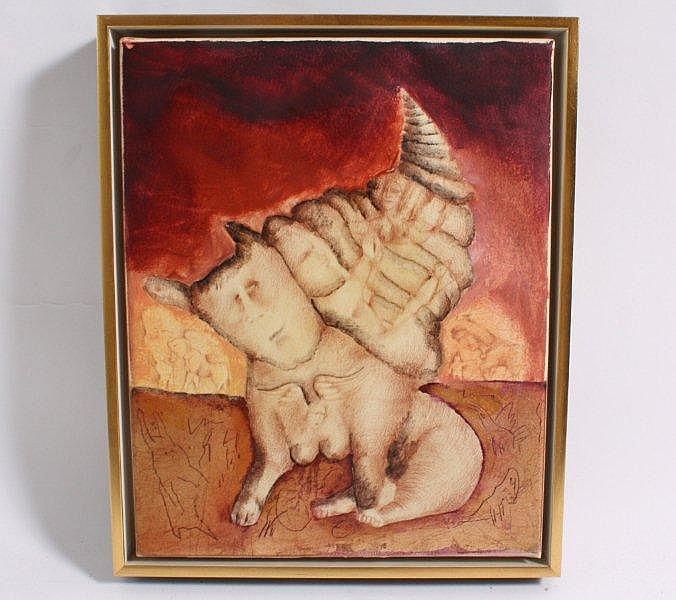 Maleri: Uden titel, 25 x 20 cm, sign. bagside