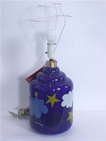 Holmegaard bordlampe, blåt glas dekoreret i