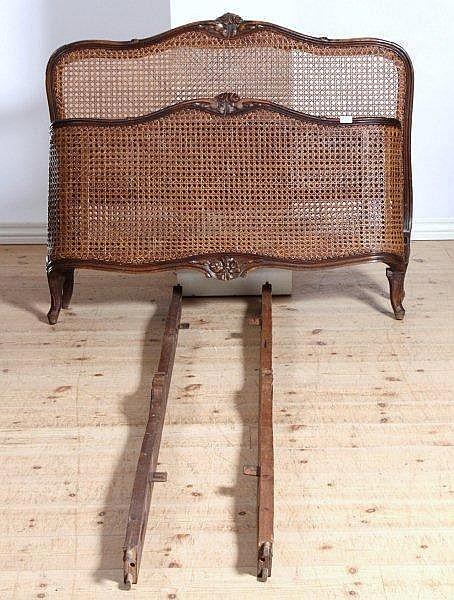 fransk seng Seng, mahogni, med fransk flet i gærdet, indre fransk seng