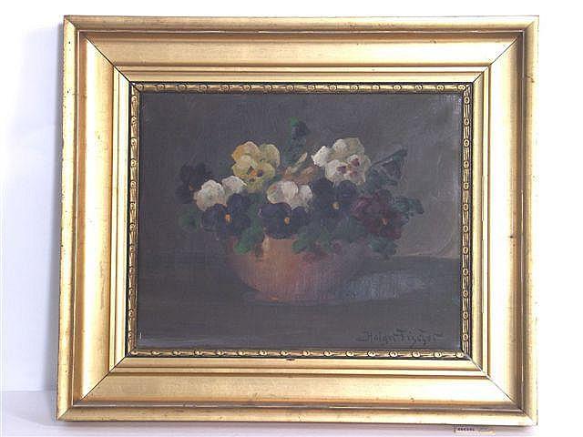 Maleri: Blomster i vase, 28 x 35 cm, sign. Holger