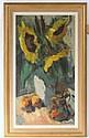 Maleri: Opstilling med kande og solsikker, 71 x 38