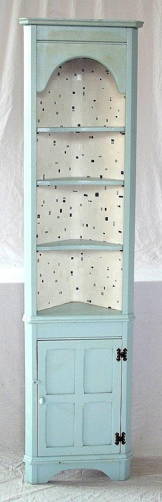 Vintage Blue Painted Pine Corner Cabinet. 20thc. Height 68 i