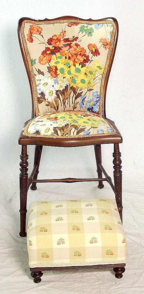 Antique Mahogany Bedroom Chair And A Mahogany Foot Stool 20