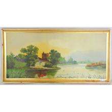 Riverscape Oil On Canvass Gilt Frame 20 X 10 Inches