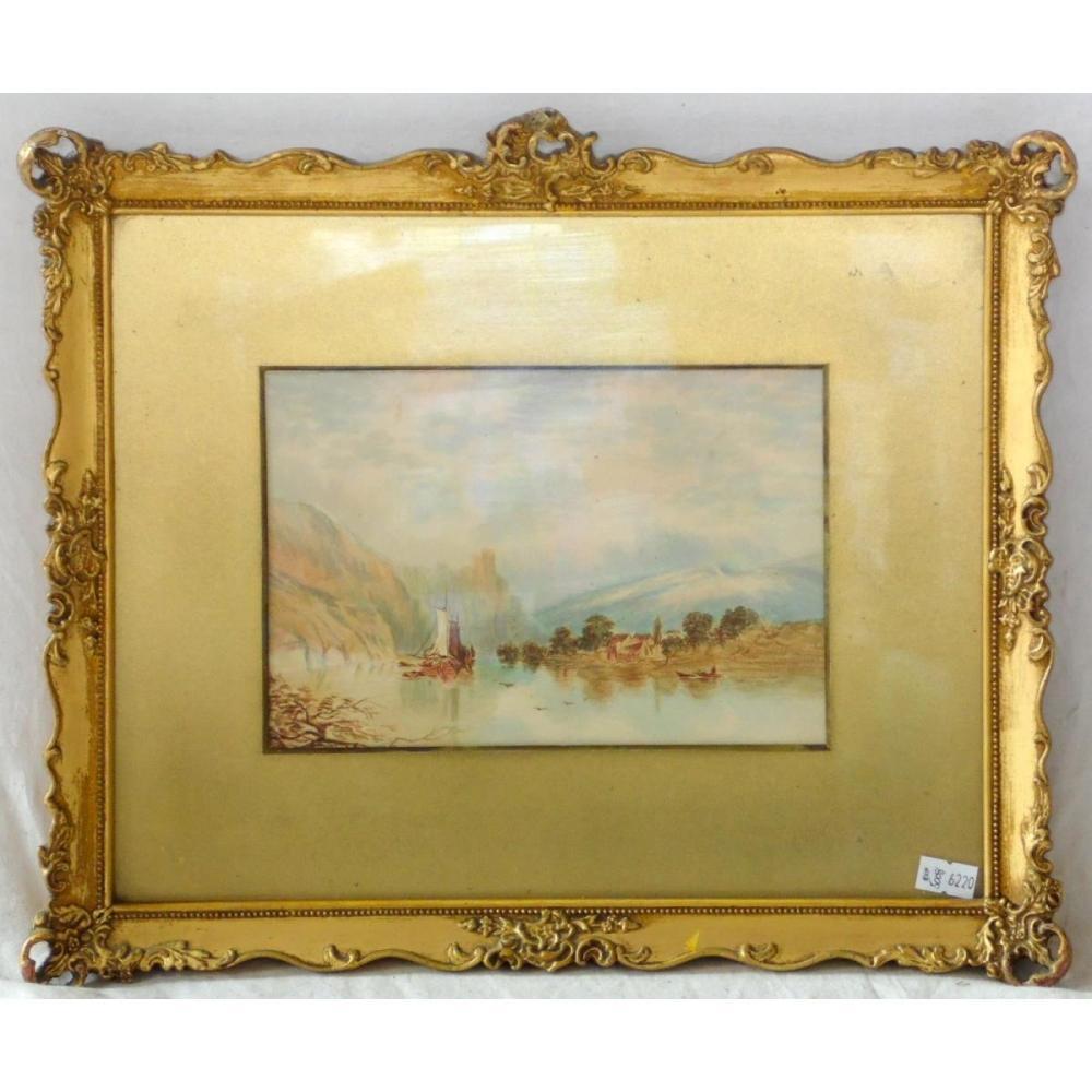 Antique Watercolour Riverscape Early 1900s Gilt Frame Under Glass