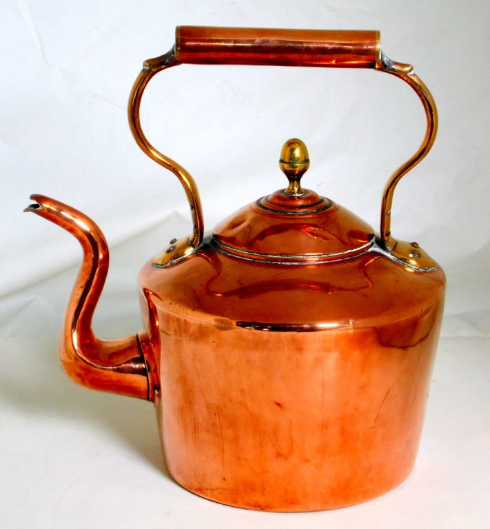 Antique William Soutter Sons Birmingham Copper Kettle with Acorn Finial.
