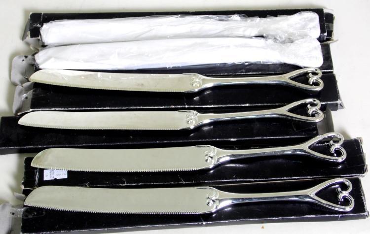 6 Heart Shaped Silver Plate EPNS Wedding Cake Knives.