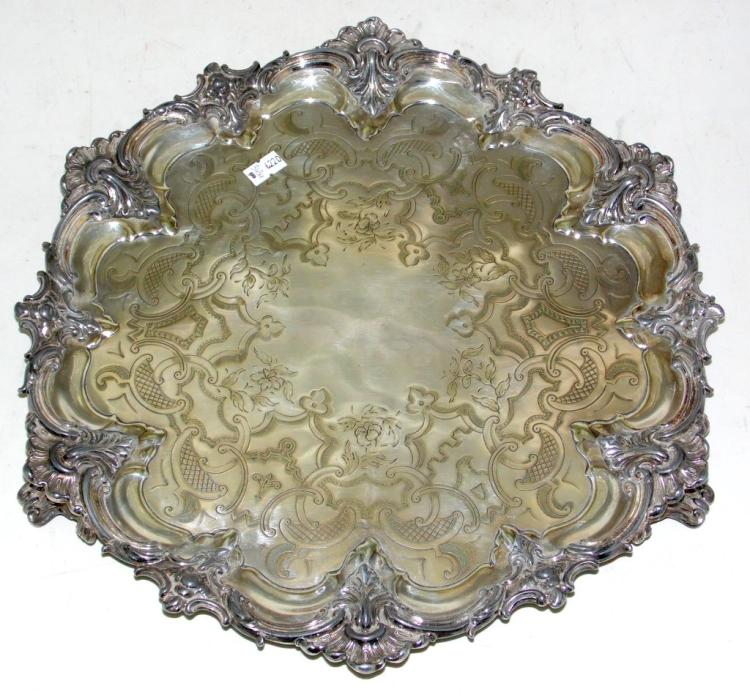 Heavy Antique Sheffield Silver Plate EPNS Serving Tray / Salver, Early 1900s. Diameter 14 inches.