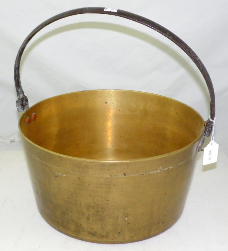Large Victorian Brass Jam Pan with Steel Folding Handle. 19th Century. Diameter 13 3/4 inches.