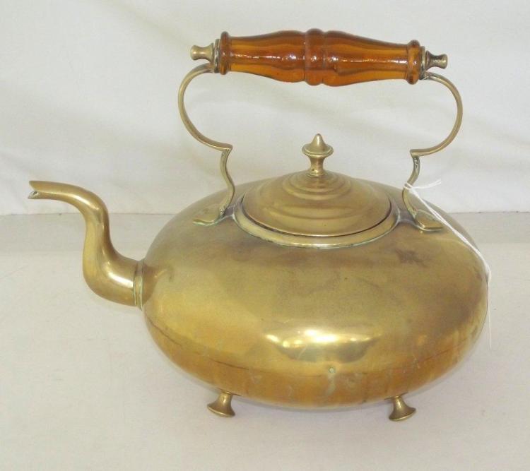Vintage Brass Kettle by James Clews, Birmingham. Early 1900s. Impressed J C B. .