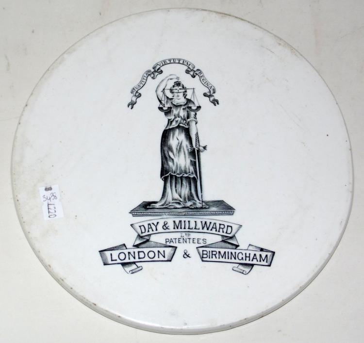 Scarce Day & Millward Advertising Porcelain Scales Plate. 19thc. Diameter 8 1/4 inches.