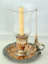 English Georgian Sheffield Silver Plate and Glass  Shade Chamberstick or Storm Lamp complete with  snuffer.early 19th Century.