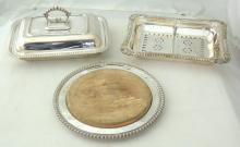 Elkington & Co. Antique Silver Plate Server with  Drainer. Circa 1890s. Silver Plate  Tureen/Lid/Handle .Marked GJC. A Barker Brothers  Circular Silver Plated Bread Board Tray Complete  with Board. (3 Items)