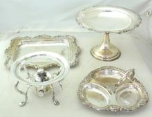 Collection of Antique English Silver Plate to  Include: Comport. Rectangular Tray. Spirit  Burner/Stand. Canape Tray. (4 Items)
