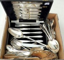 Collection of  Antique Silver Plate EPNS to  Include: Viners, Cased Set of Fish Knives and  Forks. Georgian Knives. Etc.