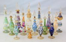 Collection of 15 Vintage Venetian Murano Glass  Scent / Perfume Bottles. Height  6 1/2  to 2 1/2  inches. (15 Items)