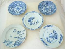 5 18thc Blue & White Chinese Porcelain Plates. (5  Items)