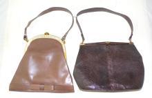 Vintage Susan of Bond Street  Leather Handbag and  a Vintage Brown Snakeskin and Leather Hand Bag by  Jane Shilton. (2 Items)