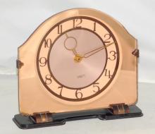 1930s Art Deco Smiths Pink Mirror Glass Quartz  Mantle Clock Working Order.