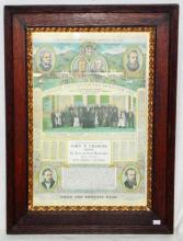 Local Interest: Wrecsam Eisteddfod Almanack Poster  1876, Printed and Published by E Smith & co  Northwood st, Birmingham. Heavy Oak Framed Under  Glass 67 x 49cm