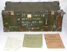 Scarce WW11 Original British Army Mine Detector  No.4A Set in Wood Transit Chest. Complete with  manuals and Instructions. Circa 1940s